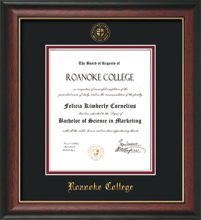 Image of Roanoke College Diploma Frame - Rosewood w/Gold Lip - w/Embossed RC Seal & Name - Black on Maroon mat