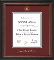Image of Roanoke College Diploma Frame - Rosewood w/Gold Lip - w/Embossed RC Seal & Name - Maroon on Black mat