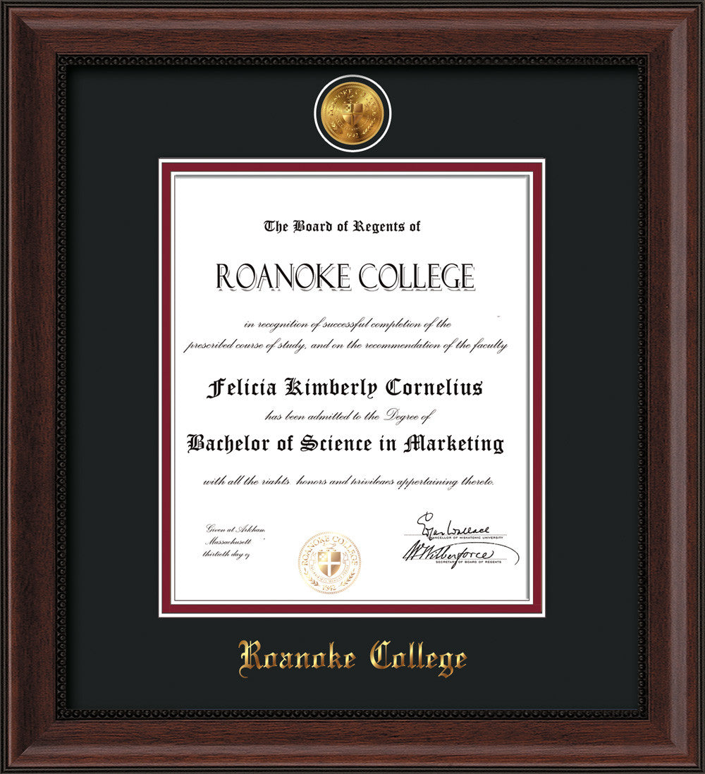 Roanoke College Diploma Frame-Che Lacquer-w/RC Medallion-Garnet ...