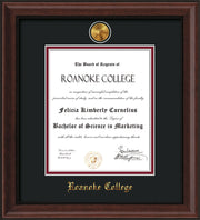 Image of Roanoke College Diploma Frame - Mahogany Bead - w/24k Gold-Plated Medallion RC Name Embossing - Black on Maroon mats