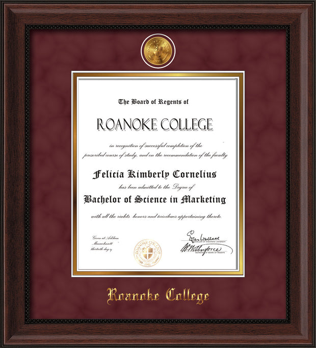 Image of Roanoke College Diploma Frame - Mahogany Bead - w/24k Gold-Plated Medallion RC Name Embossing - Garnet Suede on Gold mats