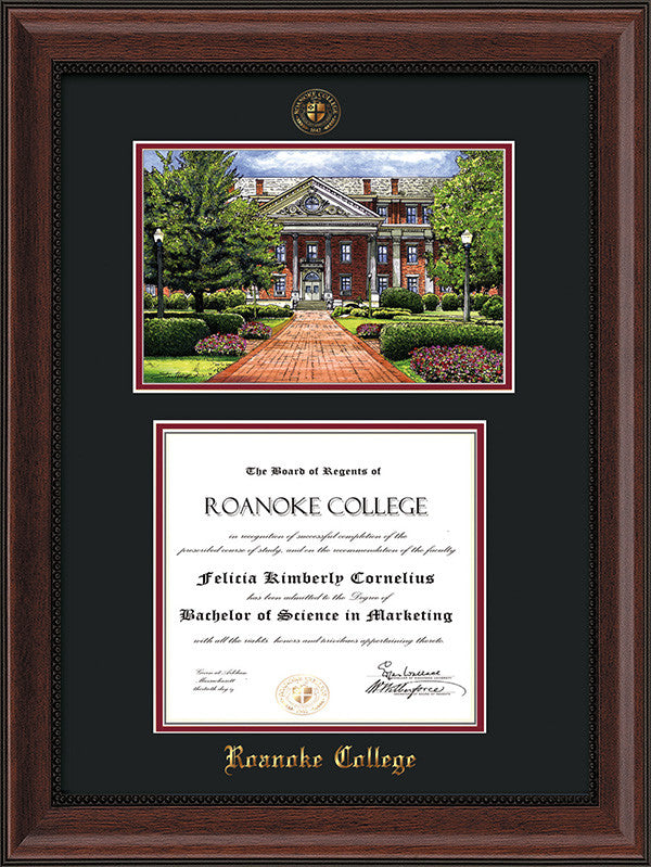 Image of Roanoke College Diploma Frame - Mahogany Bead - w/Embossed RC Seal & Name - w/Campus Watercolor - Black on Maroon mat