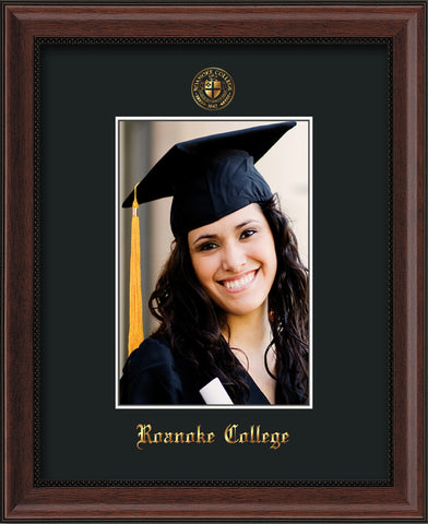 Image of Roanoke College 5 x 7 Photo Frame - Mahogany Bead - w/Official Embossing of RC Seal & Name - Single Black mat