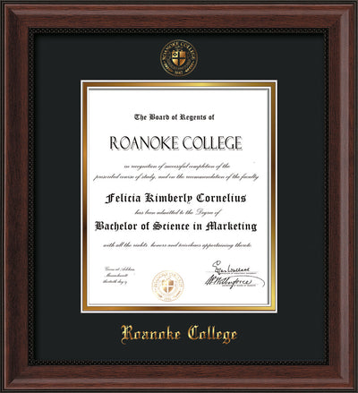 Image of Roanoke College Diploma Frame - Mahogany Bead - w/Embossed RC Seal & Name - Black on Gold mat