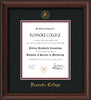 Image of Roanoke College Diploma Frame - Mahogany Bead - w/Embossed RC Seal & Name - Black on Maroon mat