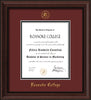 Image of Roanoke College Diploma Frame - Mahogany Bead - w/Embossed RC Seal & Name - Maroon on Black mat