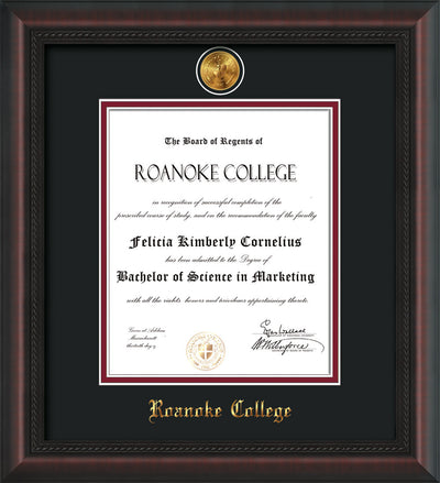 Image of Roanoke College Diploma Frame - Mahogany Braid - w/24k Gold-Plated Medallion RC Name Embossing - Black on Maroon mats