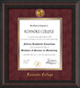 Image of Roanoke College Diploma Frame - Mahogany Braid - w/24k Gold-Plated Medallion RC Name Embossing - Garnet Suede on Gold mats