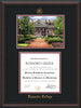 Image of Roanoke College Diploma Frame - Mahogany Braid - w/Embossed RC Seal & Name - w/Campus Watercolor - Black on Maroon mat