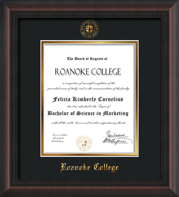 Image of Roanoke College Diploma Frame - Mahogany Braid - w/Embossed RC Seal & Name - Black on Gold mat