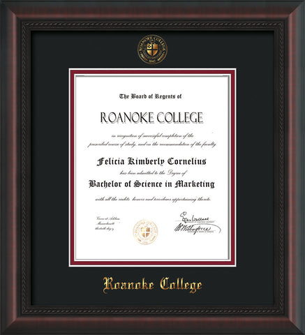 Image of Roanoke College Diploma Frame - Mahogany Braid - w/Embossed RC Seal & Name - Black on Maroon mat