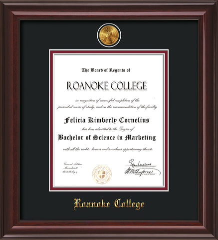 Image of Roanoke College Diploma Frame - Mahogany Lacquer - w/24k Gold-Plated Medallion RC Name Embossing - Black on Maroon mats