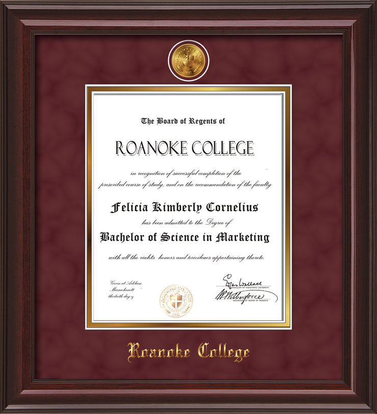 Image of Roanoke College Diploma Frame - Mahogany Lacquer - w/24k Gold-Plated Medallion RC Name Embossing - Garnet Suede on Gold mats