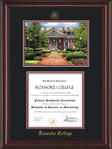 Image of Roanoke College Diploma Frame - Mahogany Lacquer - w/Embossed RC Seal & Name - w/Campus Watercolor - Black on Maroon mat