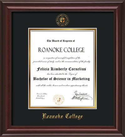 Image of Roanoke College Diploma Frame - Mahogany Lacquer - w/Embossed RC Seal & Name - Black on Gold mat