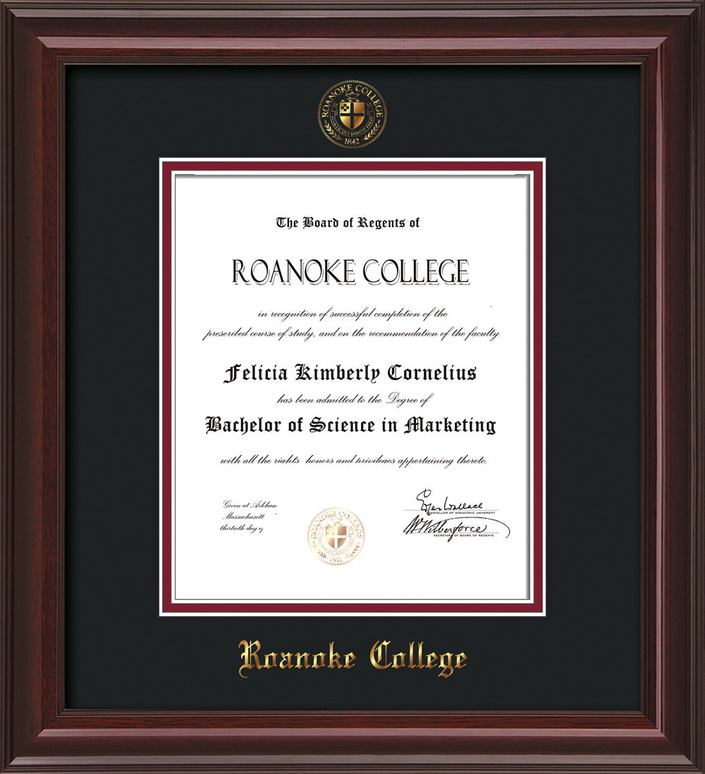 Roanoke College Diploma Frame-Mahog Lacquer-w/RC Seal-Black/Maroon ...