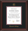 Image of Roanoke College Diploma Frame - Mahogany Lacquer - w/Embossed RC Seal & Name - Black on Maroon mat
