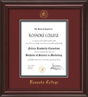 Image of Roanoke College Diploma Frame - Mahogany Lacquer - w/Embossed RC Seal & Name - Maroon on Black mat