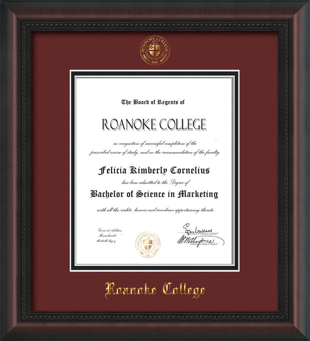 Image of Roanoke College Diploma Frame - Mahogany Braid - w/Embossed RC Seal & Name - Maroon on Black mat