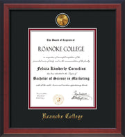 Image of Roanoke College Diploma Frame - Cherry Reverse - w/24k Gold-Plated Medallion RC Name Embossing - Black on Maroon mats