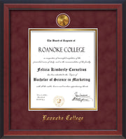 Image of Roanoke College Diploma Frame - Cherry Reverse - w/24k Gold-Plated Medallion RC Name Embossing - Garnet Suede on Gold mats