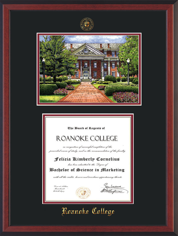 Image of Roanoke College Diploma Frame - Cherry Reverse - w/Embossed RC Seal & Name - w/Campus Watercolor - Black on Maroon mat