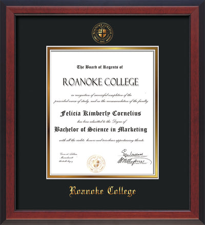 Image of Roanoke College Diploma Frame - Cherry Reverse - w/Embossed RC Seal & Name - Black on Gold mat