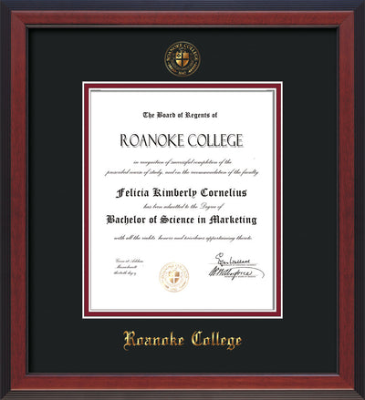 Image of Roanoke College Diploma Frame - Cherry Reverse - w/Embossed RC Seal & Name - Black on Maroon mat
