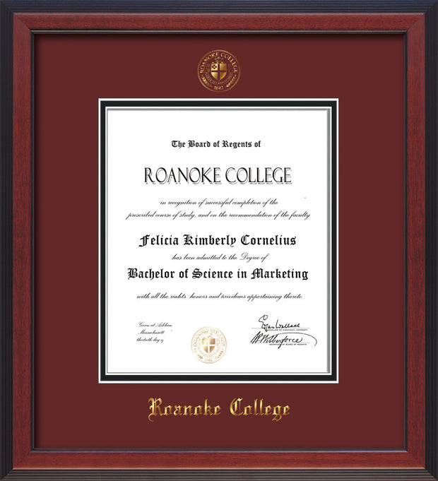 Image of Roanoke College Diploma Frame - Cherry Reverse - w/Embossed RC Seal & Name - Maroon on Black mat