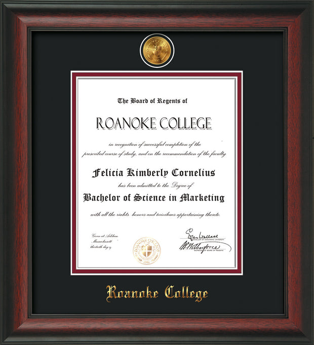 Image of Roanoke College Diploma Frame - Rosewood - w/24k Gold-Plated Medallion RC Name Embossing - Black on Maroon mats