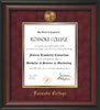 Image of Roanoke College Diploma Frame - Rosewood - w/24k Gold-Plated Medallion RC Name Embossing - Garnet Suede on Gold mats