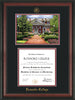 Image of Roanoke College Diploma Frame - Rosewood - w/Embossed RC Seal & Name - w/Campus Watercolor - Black on Maroon mat