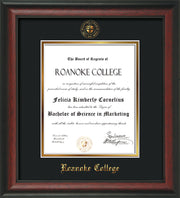 Image of Roanoke College Diploma Frame - Rosewood - w/Embossed RC Seal & Name - Black on Gold mat