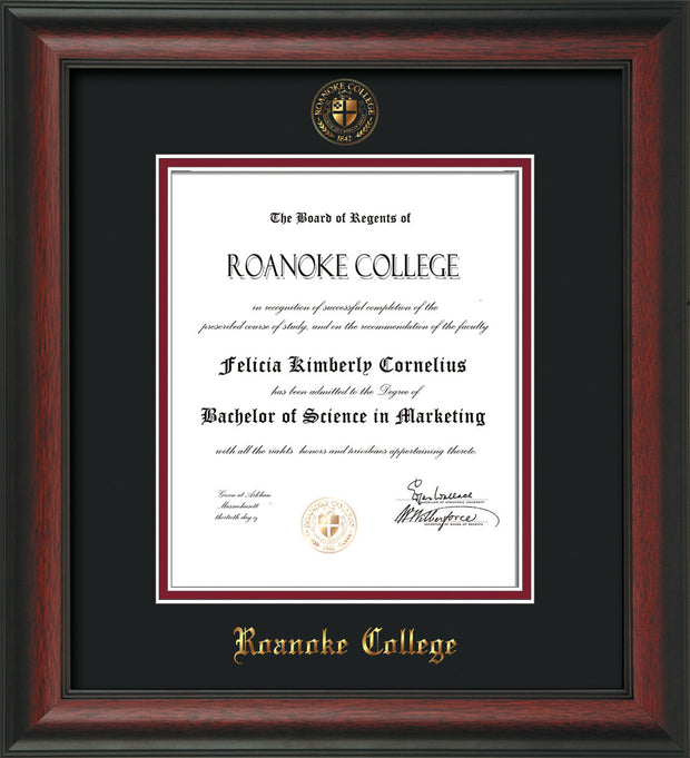 Image of Roanoke College Diploma Frame - Rosewood - w/Embossed RC Seal & Name - Black on Maroon mat