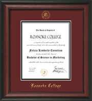 Image of Roanoke College Diploma Frame - Rosewood - w/Embossed RC Seal & Name - Maroon on Black mat