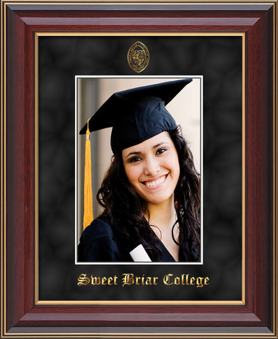 Image of Sweet Briar College 5 x 7 Photo Frame - Cherry Lacquer - w/Official Embossing of SBC Seal & Name - Single Black Suede mat