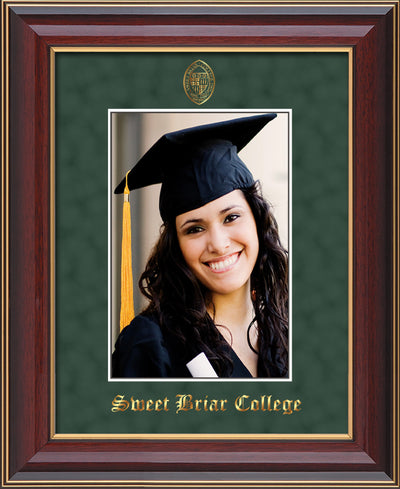 Image of Sweet Briar College 5 x 7 Photo Frame  - Cherry Lacquer - w/Official Embossing of SBC Seal & Name - Single Green Suede mat