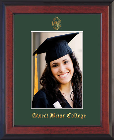 Image of Sweet Briar College 5 x 7 Photo Frame - Cherry Reverse - w/Official Embossing of SBC Seal & Name - Single Green mat