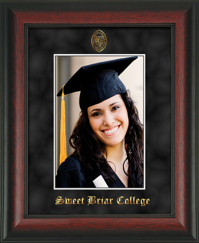 Image of Sweet Briar College 5 x 7 Photo Frame - Rosewood - w/Official Embossing of SBC Seal & Name - Single Black Suede mat