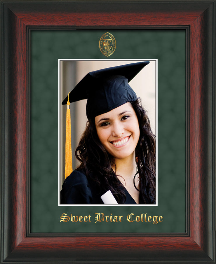 Image of Sweet Briar College 5 x 7 Photo Frame - Rosewood - w/Official Embossing of SBC Seal & Name - Single Green Suede mat