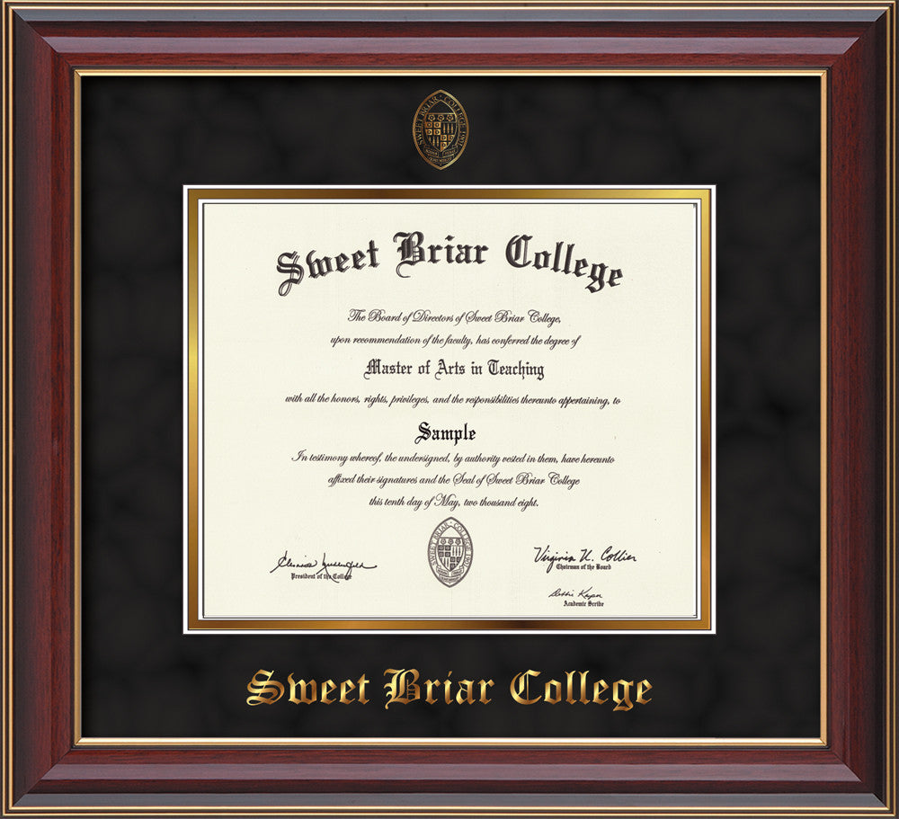 image of sweet briar college diploma frame cherry lacquer wembossed sbc seal