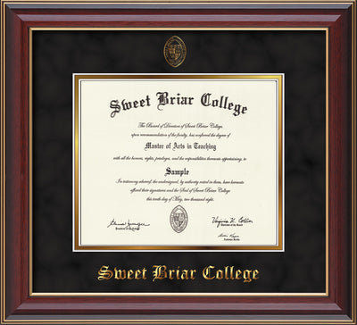 Image of Sweet Briar College Diploma Frame - Cherry Lacquer - w/Embossed SBC Seal & Name - Black Suede on Gold mat