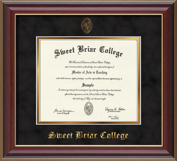 Sweet Briar College Diploma Frame Cherry Lacquer Seal