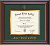 Image of Sweet Briar College Diploma Frame - Cherry Lacquer - w/Embossed SBC Seal & Name - Green Suede on Gold mat