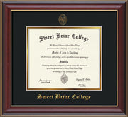 Image of Sweet Briar College Diploma Frame - Cherry Lacquer - w/Embossed SBC Seal & Name - Black on Gold mat