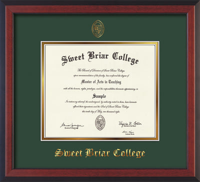 Image of Sweet Briar College Diploma Frame - Cherry Reverse - w/Embossed SBC Seal & Name - Green on Gold mat