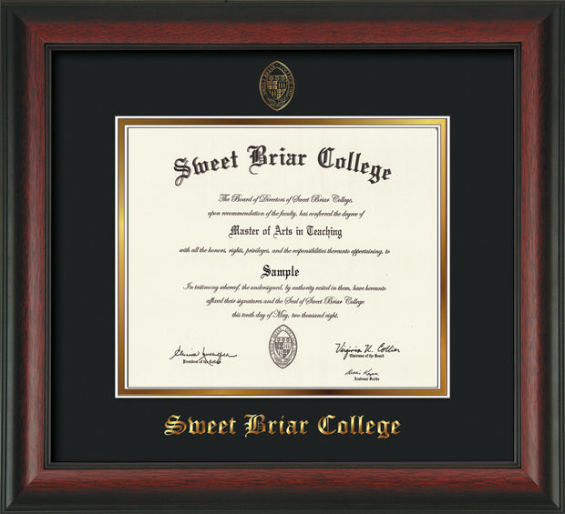Image of Sweet Briar College Diploma Frame - Rosewood - w/Embossed SBC Seal & Name - Black on Gold mat
