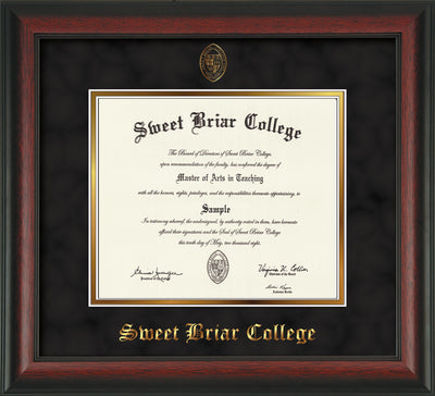 Image of Sweet Briar College Diploma Frame - Rosewood - w/Embossed SBC Seal & Name - Black Suede on Gold mat