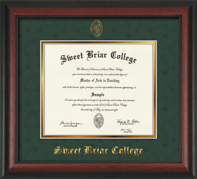 Image of Sweet Briar College Diploma Frame - Rosewood - w/Embossed SBC Seal & Name - Green Suede on Gold mat