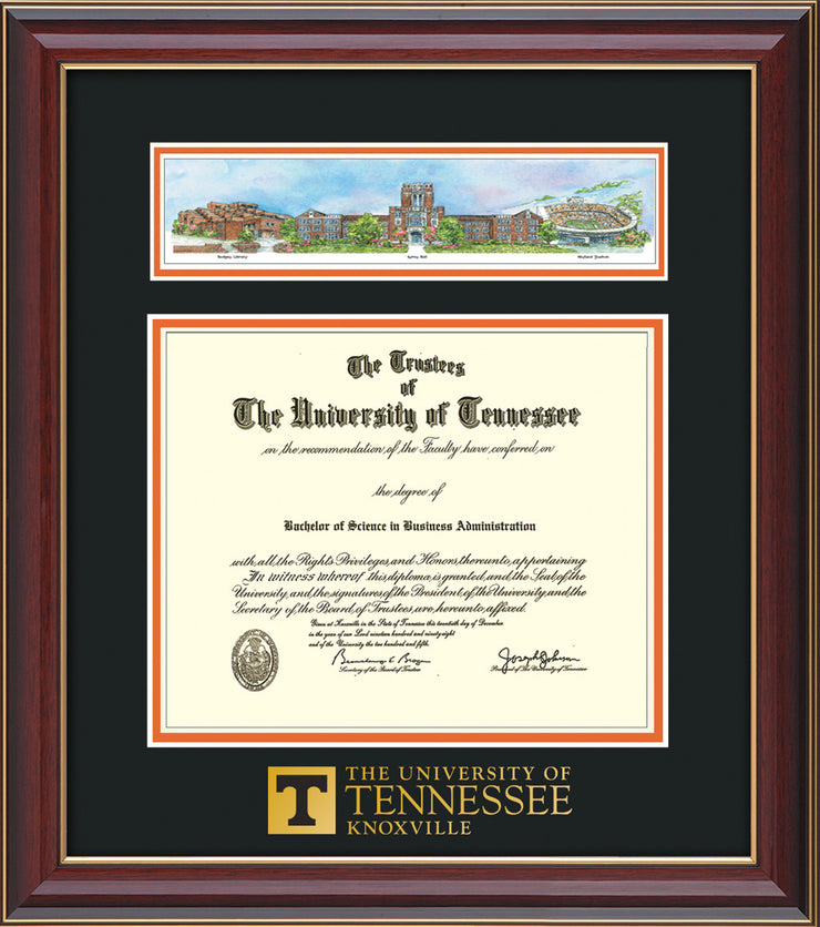 Image of University of Tennessee Diploma Frame - Cherry Lacquer - w/Embossed UTK School Wordmark Only - Campus Collage - Black on Orange mat